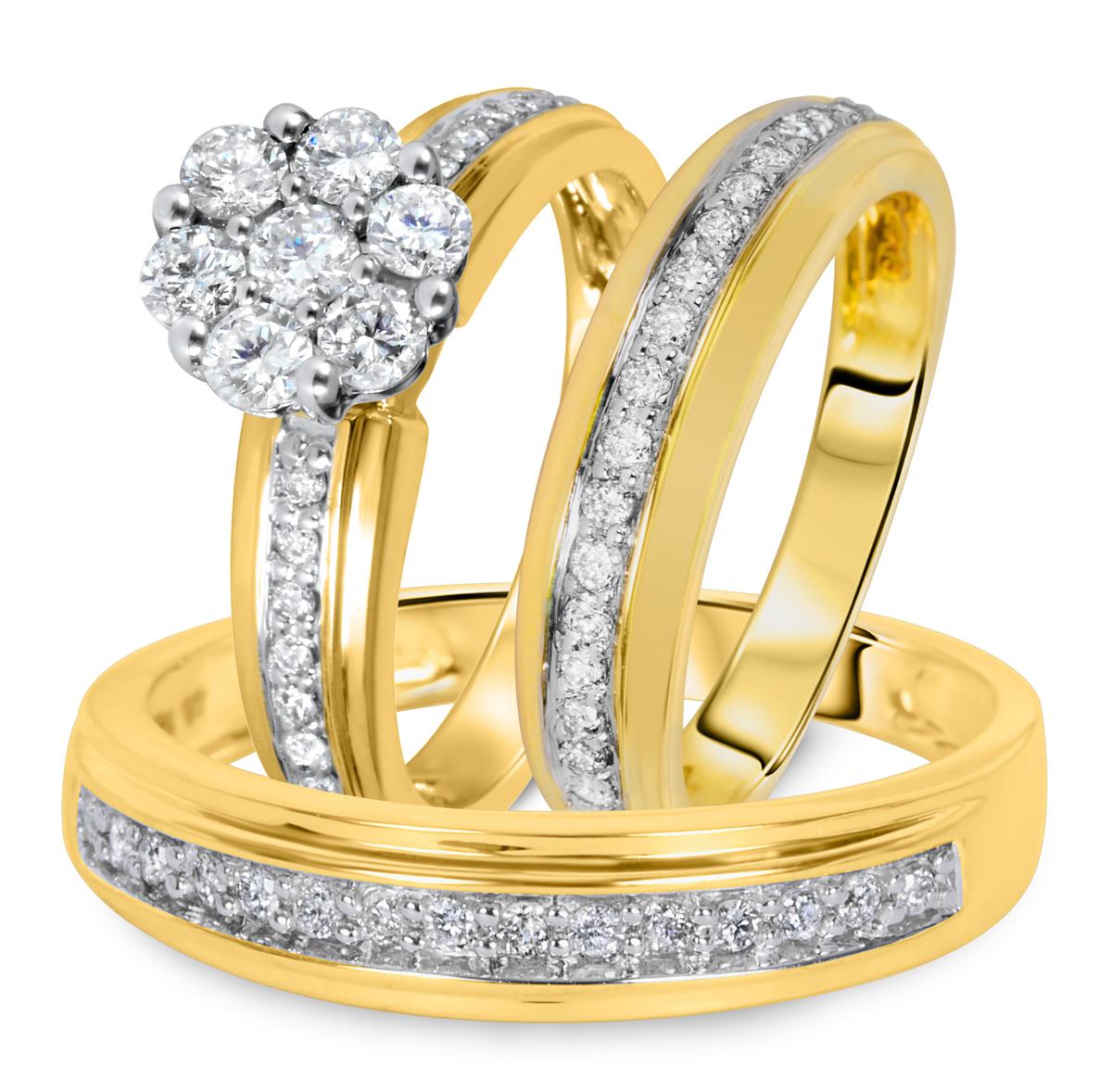 1 1/7 CT. T.W. Diamond Ladies Engagement Ring, Wedding Band, Men's Wedding Band