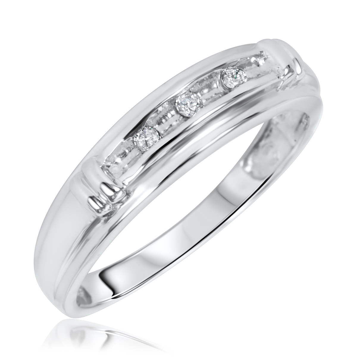 1/10 CT. T.W. Round Cut Diamond Ladies Wedding Band 14K White Gold- Size 8