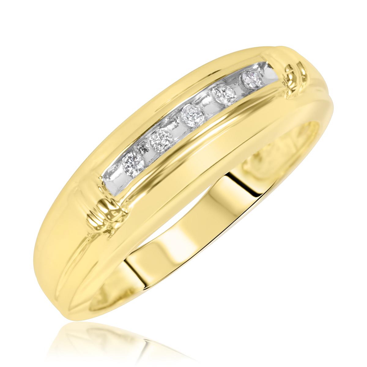 1/10 Carat T.W. Round Cut Diamond Men's Wedding Ring 10K Yellow Gold- Size 8