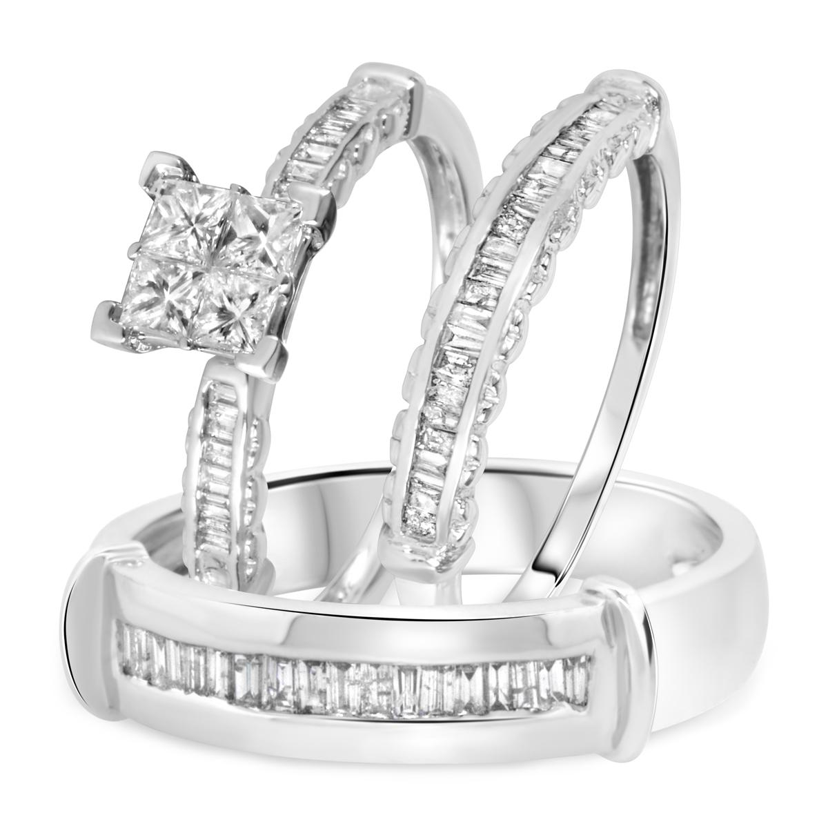 1 1/5 CT. T.W. Diamond Ladies Engagement Ring, Wedding Band, Men's Wedding Band