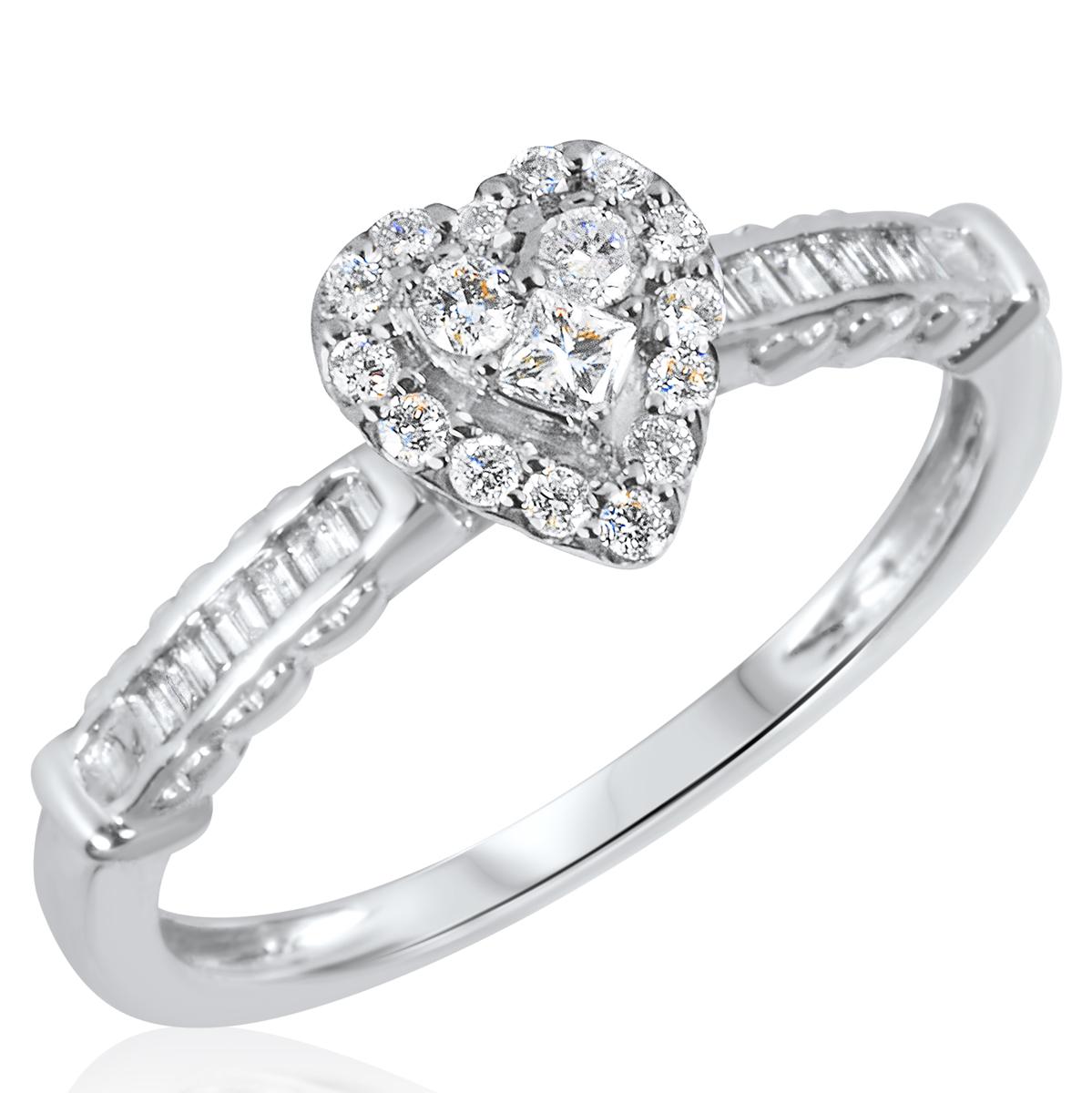 3/8 CT. T.W. Diamond Ladies Engagement Ring 10K White Gold- Size 8