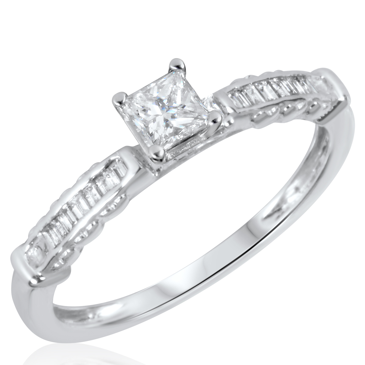 1/2 CT. T.W. Diamond Ladies Engagement Ring 14K White Gold- Size 8