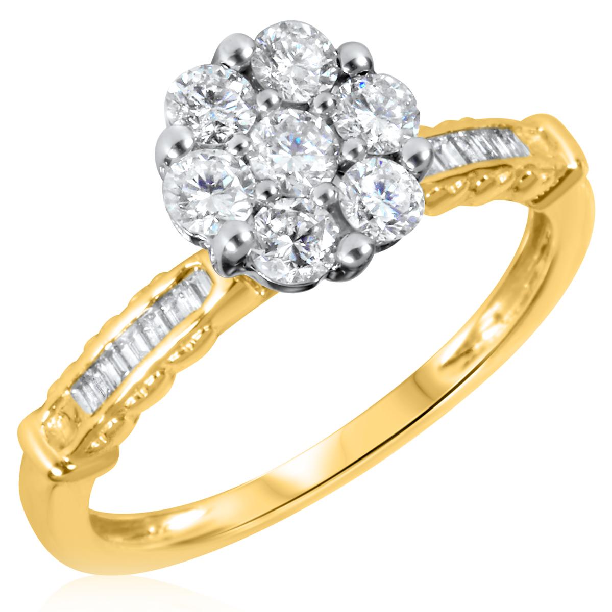 7/8 CT. T.W. Diamond Ladies Engagement Ring 10K Yellow Gold- Size 8