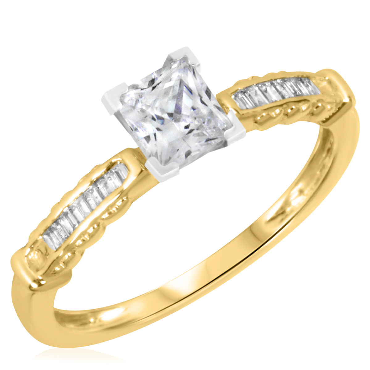1 1/6 CT. T.W. Diamond Ladies Engagement Ring 14K Yellow Gold- Size 8