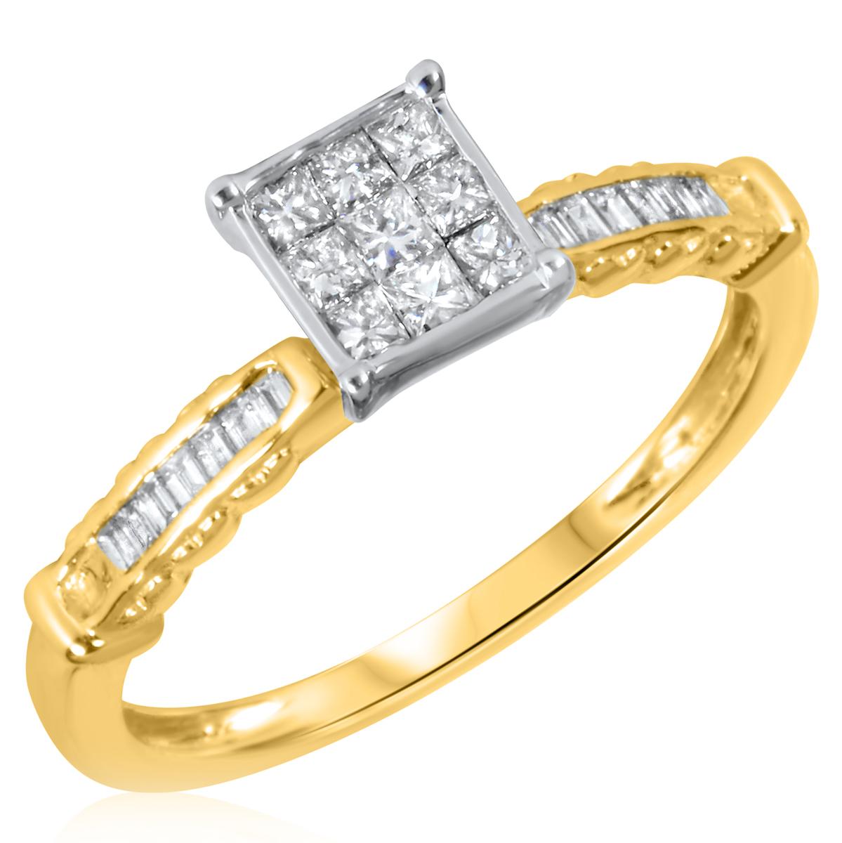 1/2 Carat T.W. Princess, Baguette Cut Diamond Women's Engagement Ring 14K Yellow