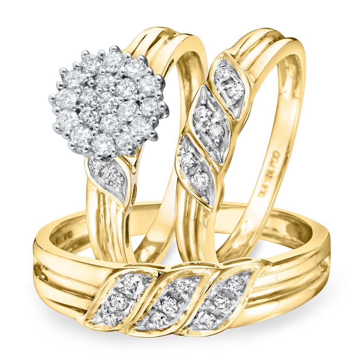 2/3 CT. T.W. Diamond Ladies Engagement Ring, Wedding Band, Men's Wedding Band