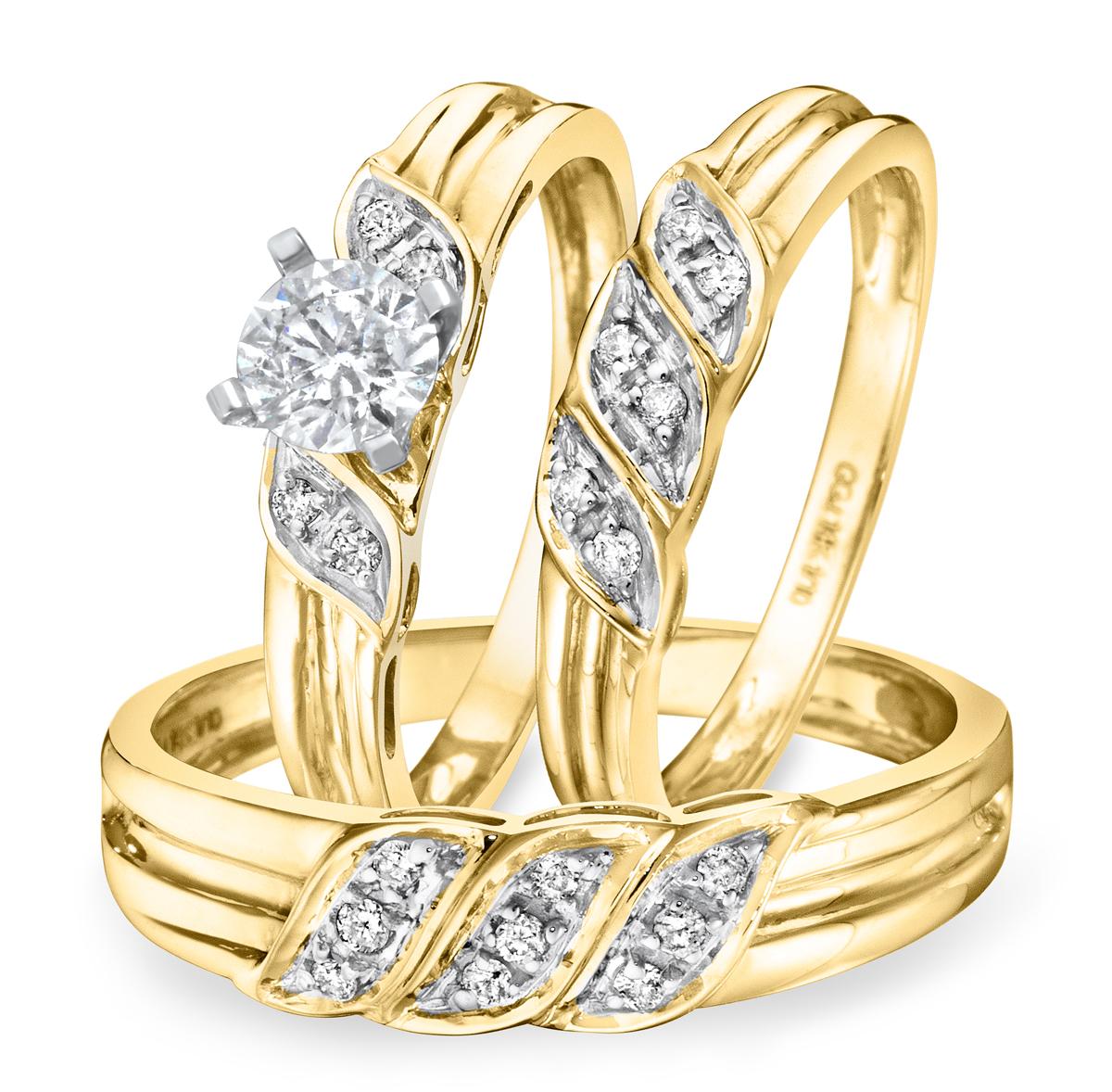 3/4 CT. T.W. Diamond Ladies Engagement Ring, Wedding Band, Men's Wedding Band