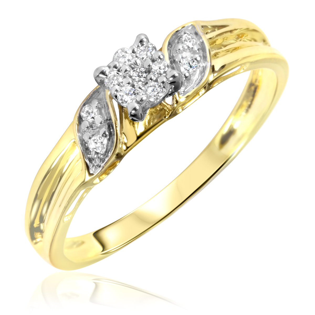 1/10 Carat T.W. Round Cut Diamond Women's Engagement Ring 10K Yellow Gold- Size