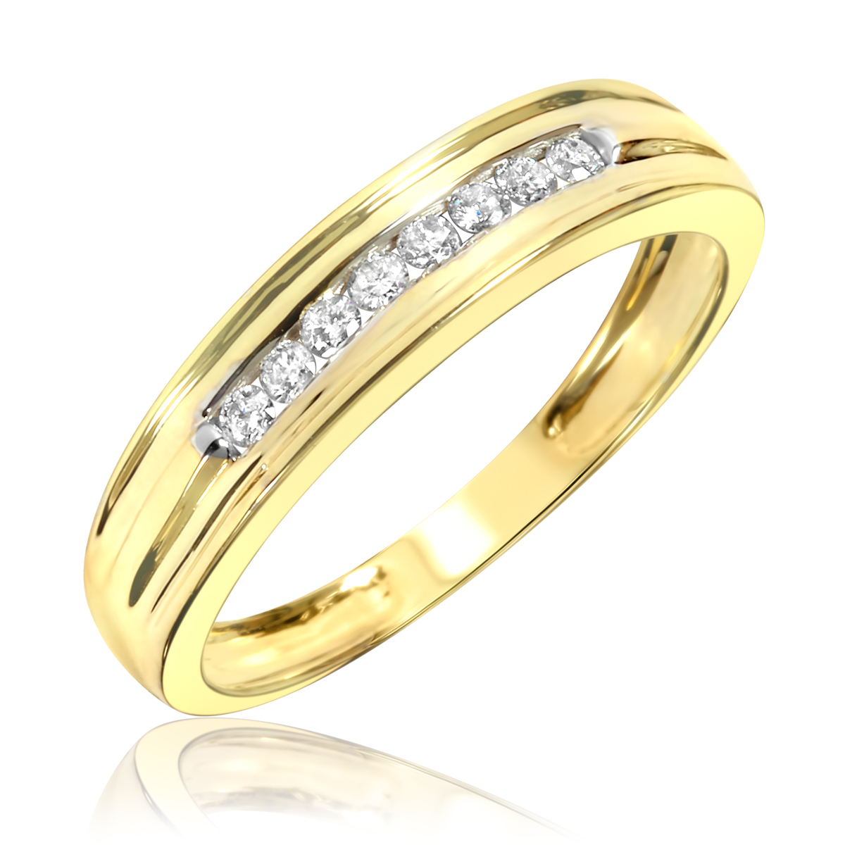 1/7 CT. T.W. Round Cut Diamond Ladies Wedding Band 10K Yellow Gold- Size 8