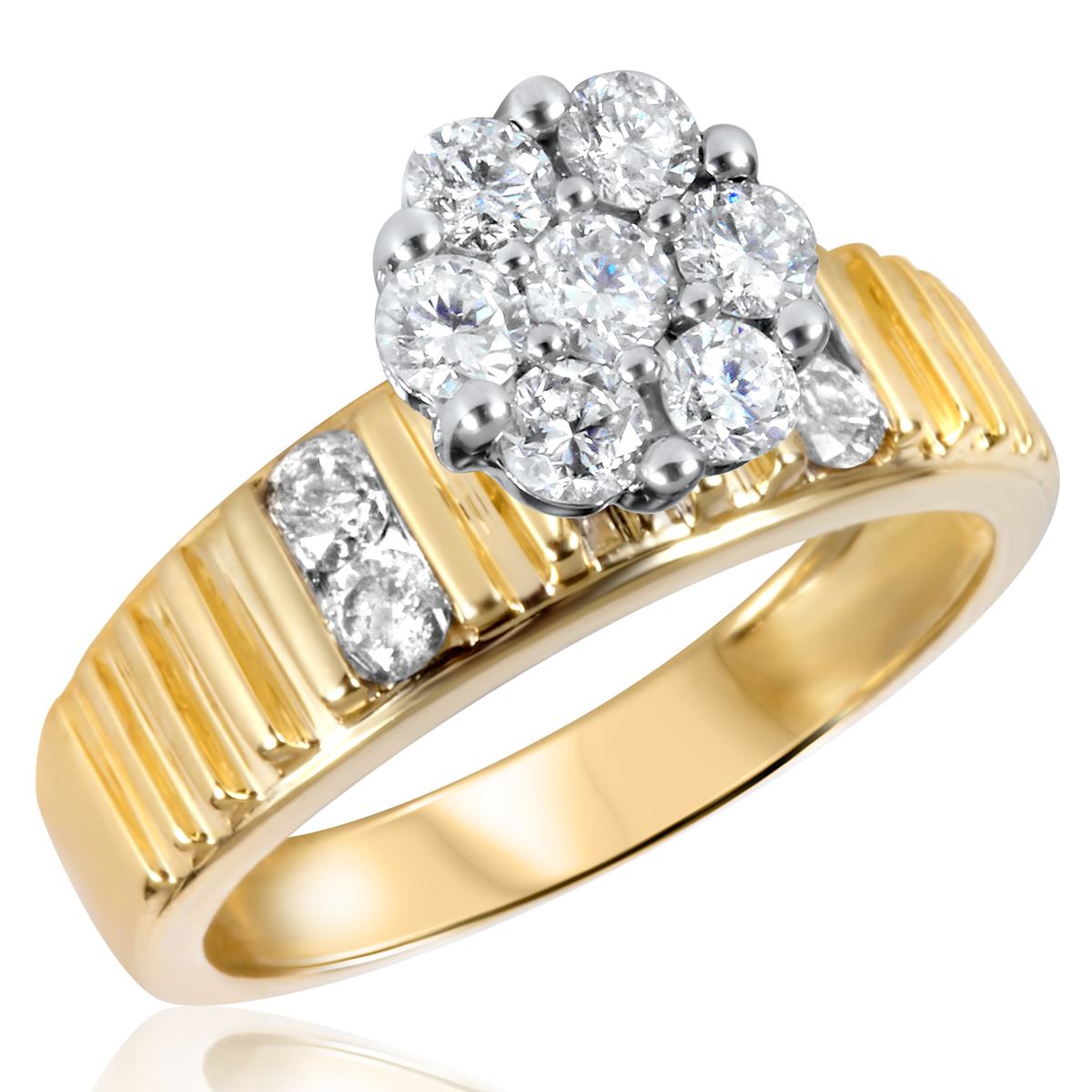 7/8 CT. T.W. Diamond Ladies Engagement Ring 14K Yellow Gold- Size 8