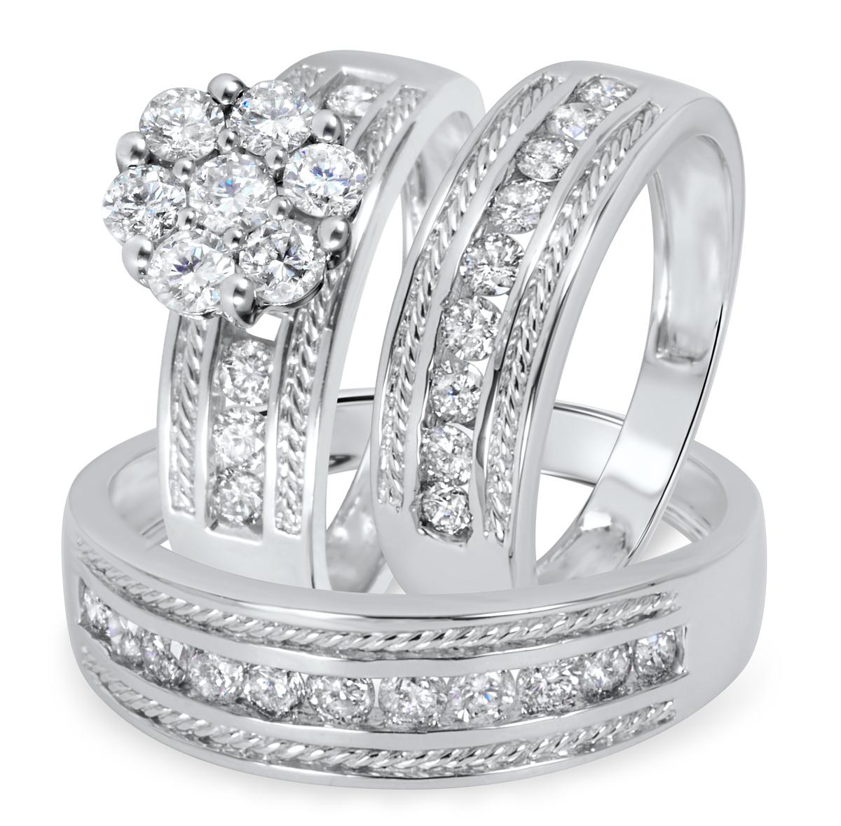 1 2/3 CT. T.W. Diamond Ladies Engagement Ring, Wedding Band, Men's Wedding Band