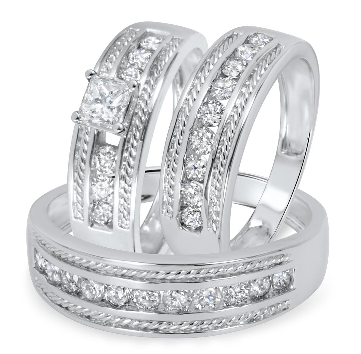 1 1/3 CT. T.W. Diamond Ladies Engagement Ring, Wedding Band, Men's Wedding Band