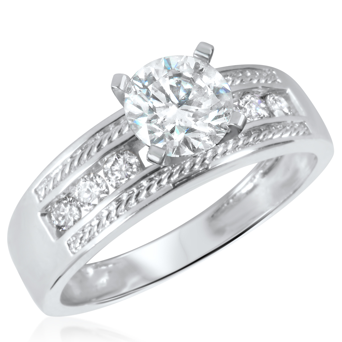 1 1/4 CT. T.W. Diamond Ladies Engagement Ring 10K White Gold- Size 8