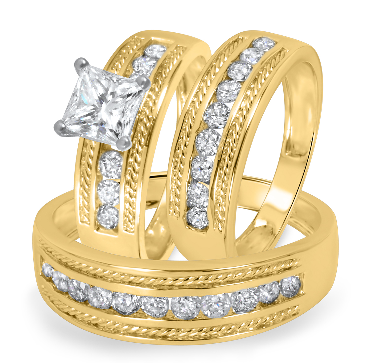 2 CT. T.W. Diamond Ladies Engagement Ring, Wedding Band, Men's Wedding Band
