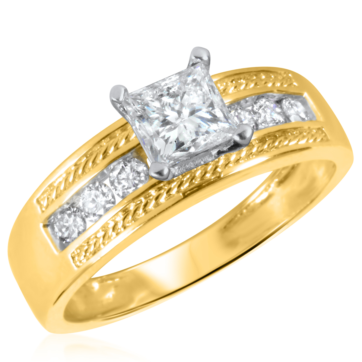 1 CT. T.W. Diamond Ladies Engagement Ring 14K Yellow Gold- Size 8