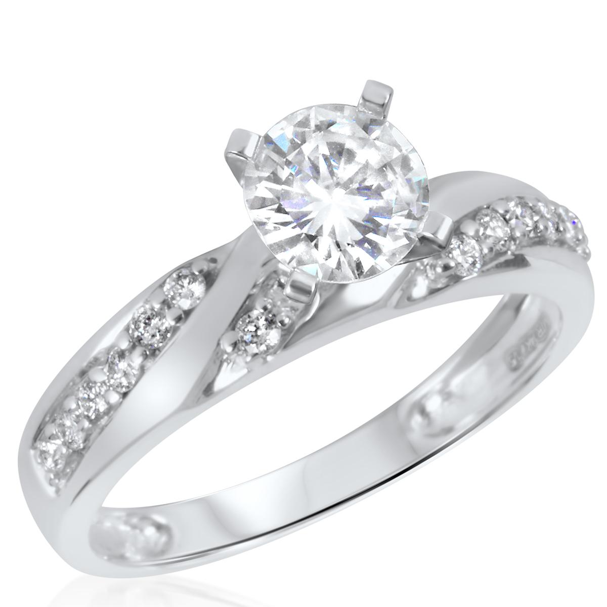 1 CT. T.W. Diamond Ladies Engagement Ring 10K White Gold- Size 8