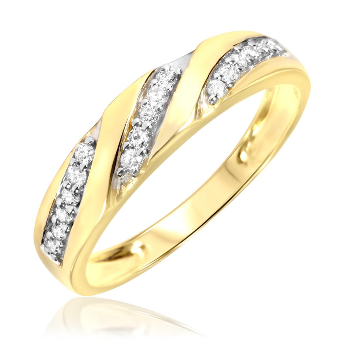 1/4 Carat T.W. Round Cut Diamond Men's Wedding Ring 14K Yellow Gold- Size 8