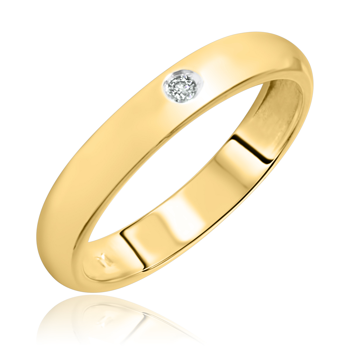 1/20 CT. T.W. Round Cut Diamond Men's Wedding Band 14K Yellow Gold- Size 8