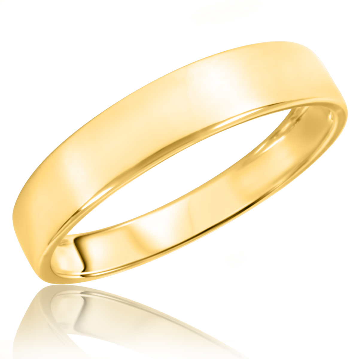 Traditional High Polish Euro Fit, 5 millimeter, 10K Yellow Gold Traditional Mens