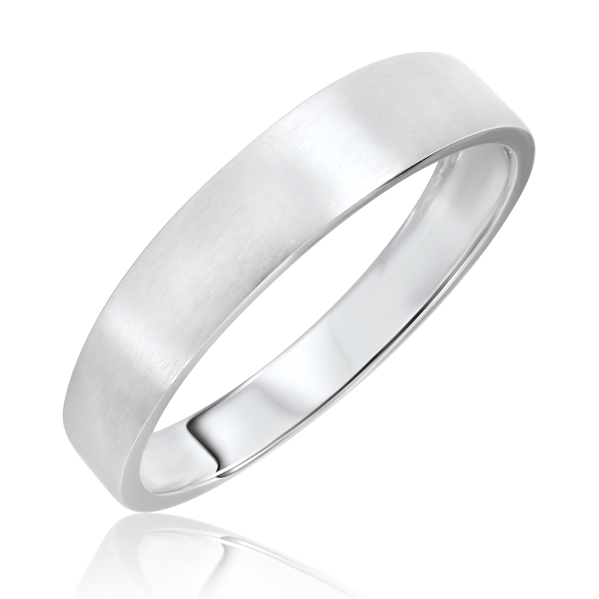 Traditional Satin Finished, 5 millimeter, 10K White Gold Men's Wedding Band-