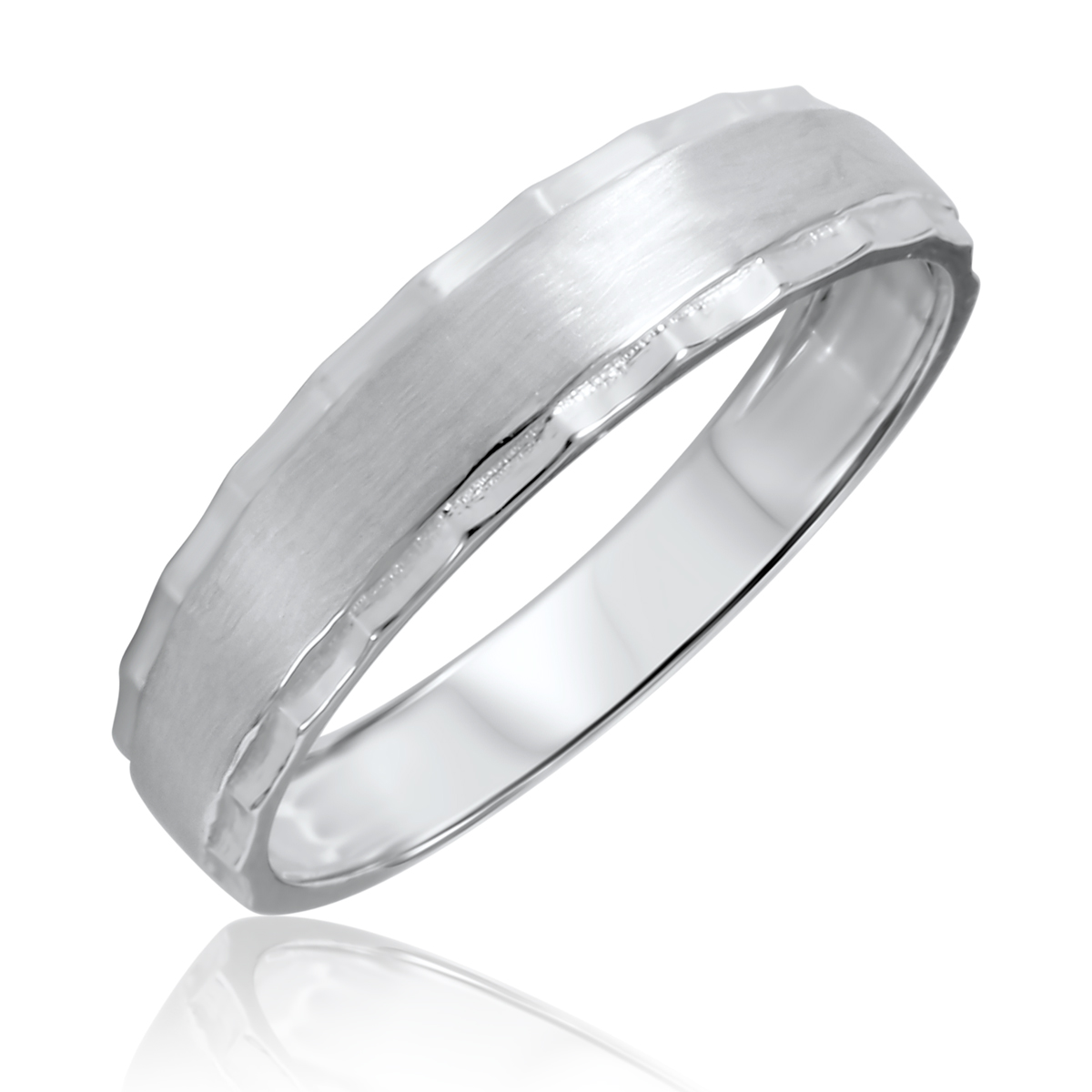 Traditional Satin Finished, 5 millimeter, 10K White Gold Traditional Mens