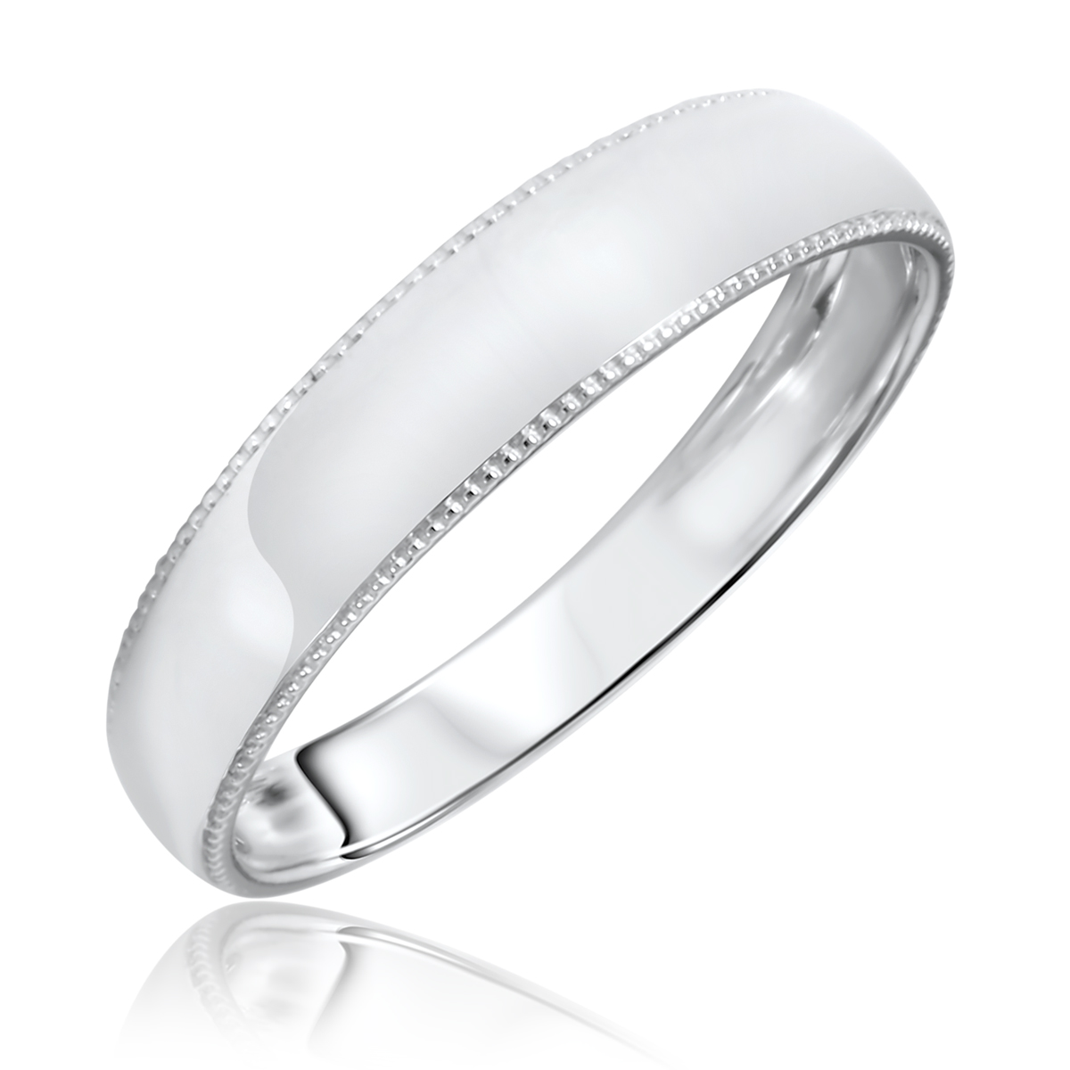 Traditional Milgrain Design, 5 millimeter, 14K White Gold Men's Wedding Band-