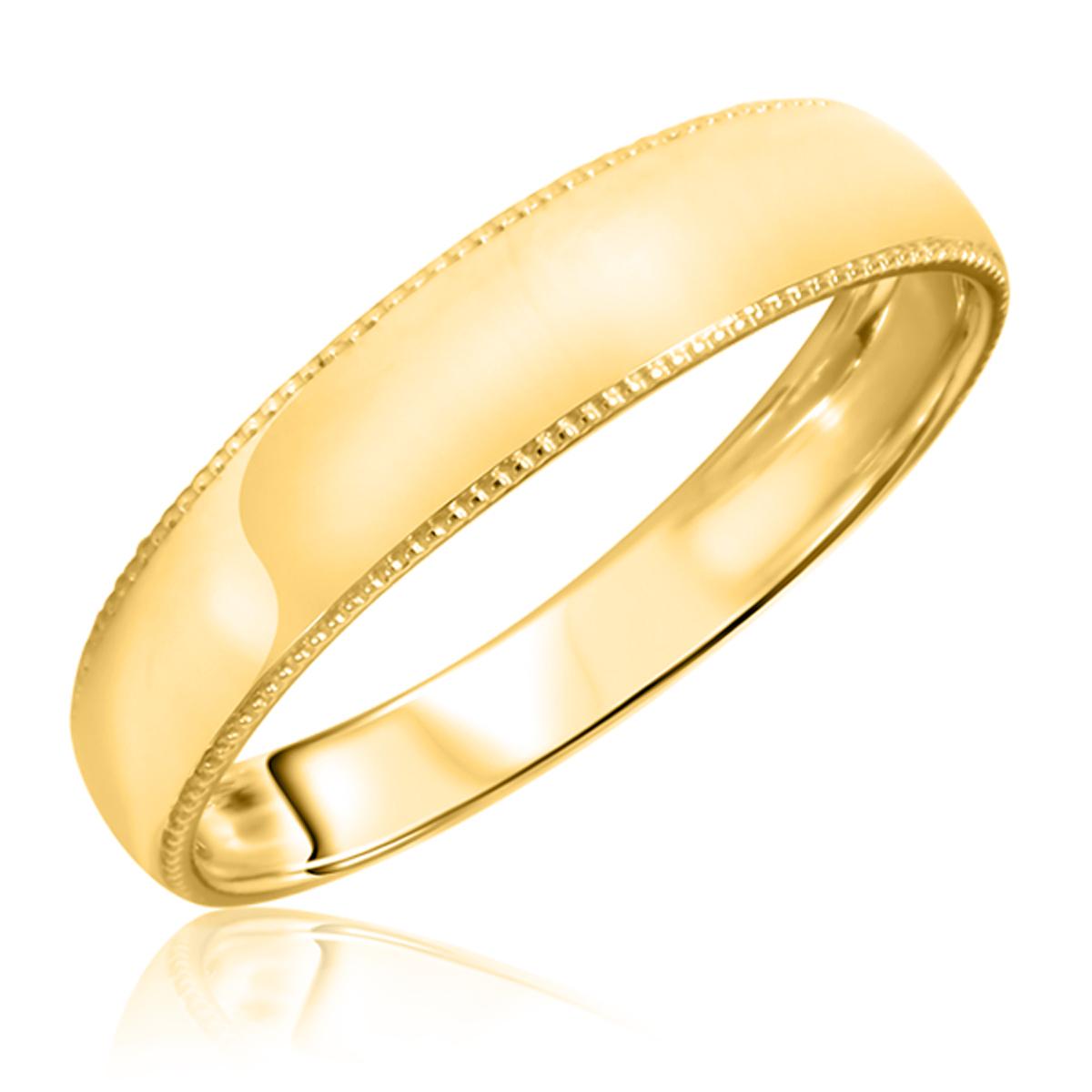 Traditional Milgrain Design, 5 millimeter, 14K Yellow Gold Men's Wedding Band-