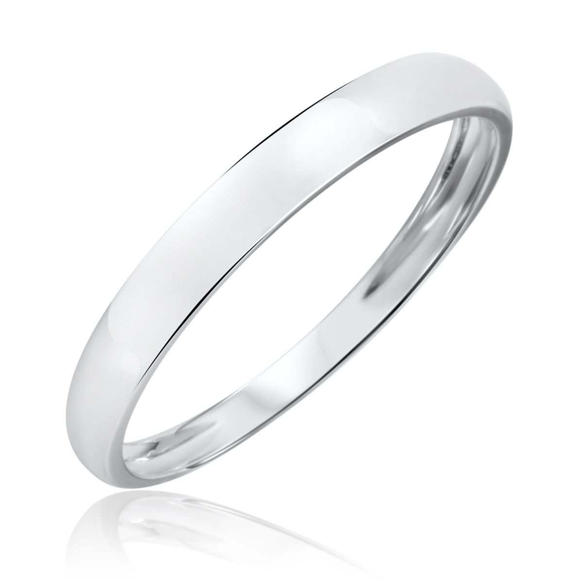 Traditional High Polish, 3 millimeter, 14K White Gold Men's Wedding Band- Size 8