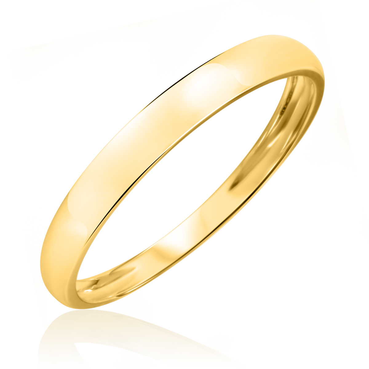 Traditional High Polish, 3 millimeter, 14K Yellow Gold Men's Wedding Band- Size