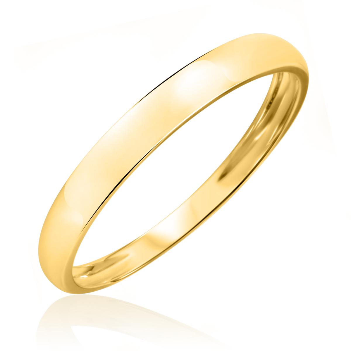 Traditional High Polish, 3 millimeter, 10K Yellow Gold Men's Wedding Band- Size