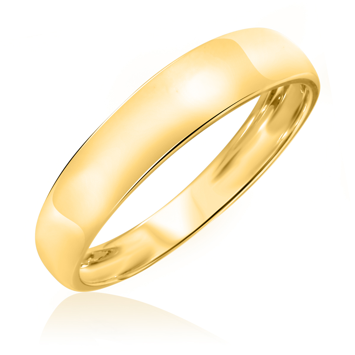 Traditional High Polish Rounded, 5 millimeter, 14K Yellow Gold Traditional Mens