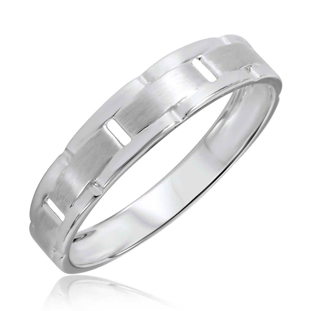 Traditional Contemporary, 5 millimeter, 10K White Gold Traditional Mens Wedding