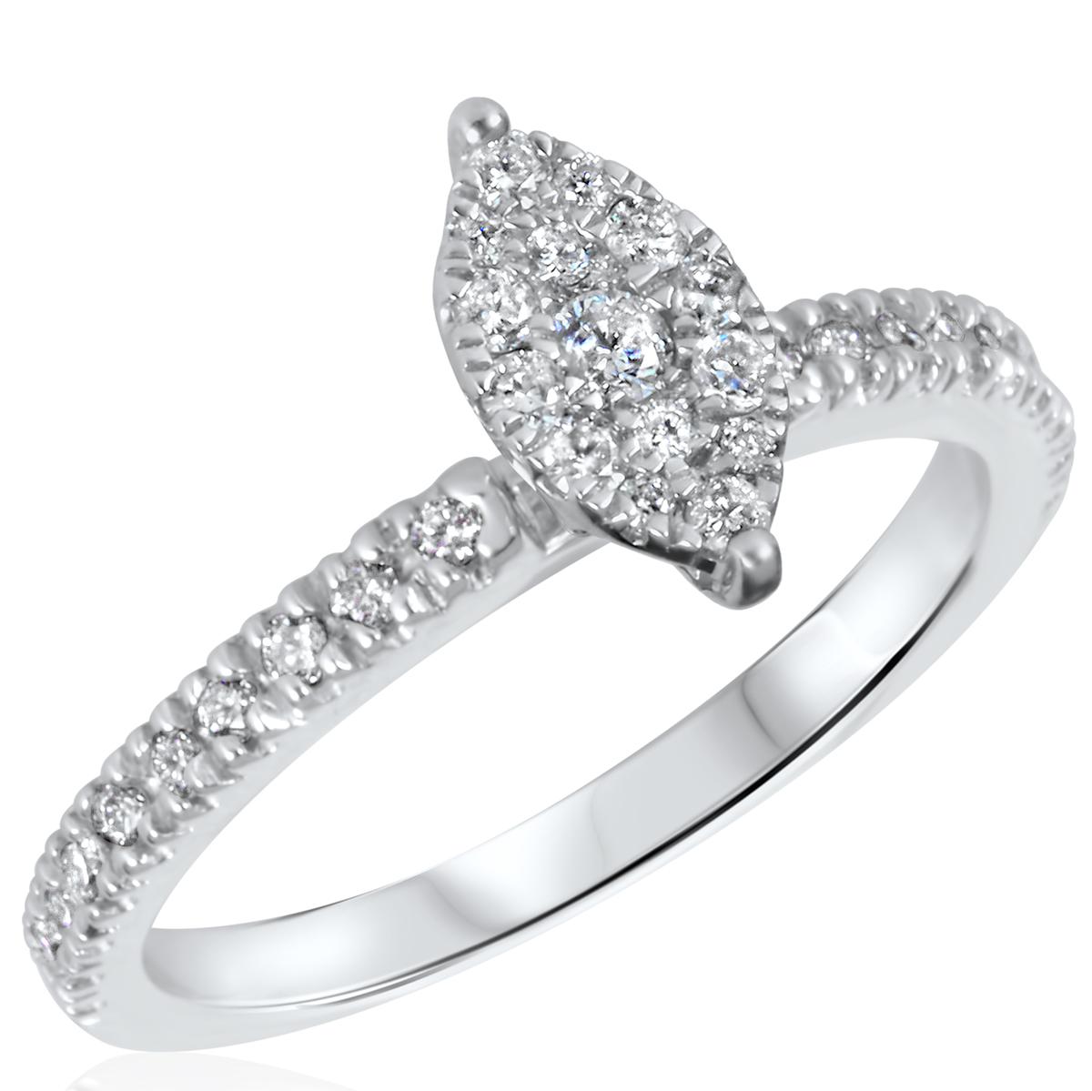 3/8 CT. T.W. Diamond Ladies Engagement Ring 14K White Gold- Size 8