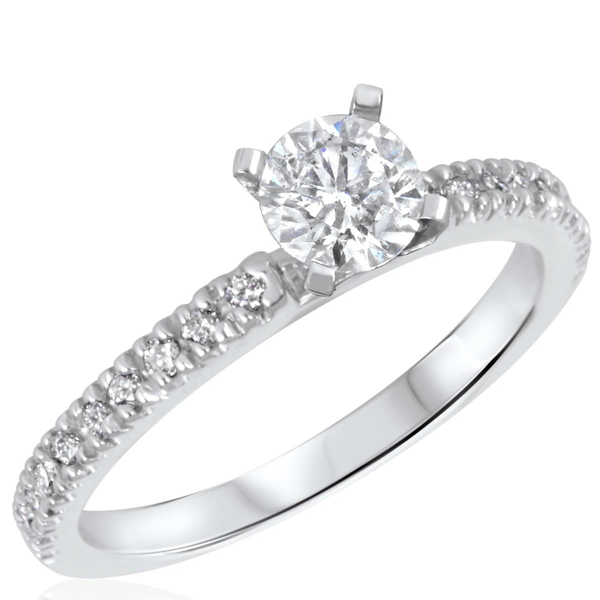3/4 CT. T.W. Diamond Ladies Engagement Ring 14K White Gold- Size 8