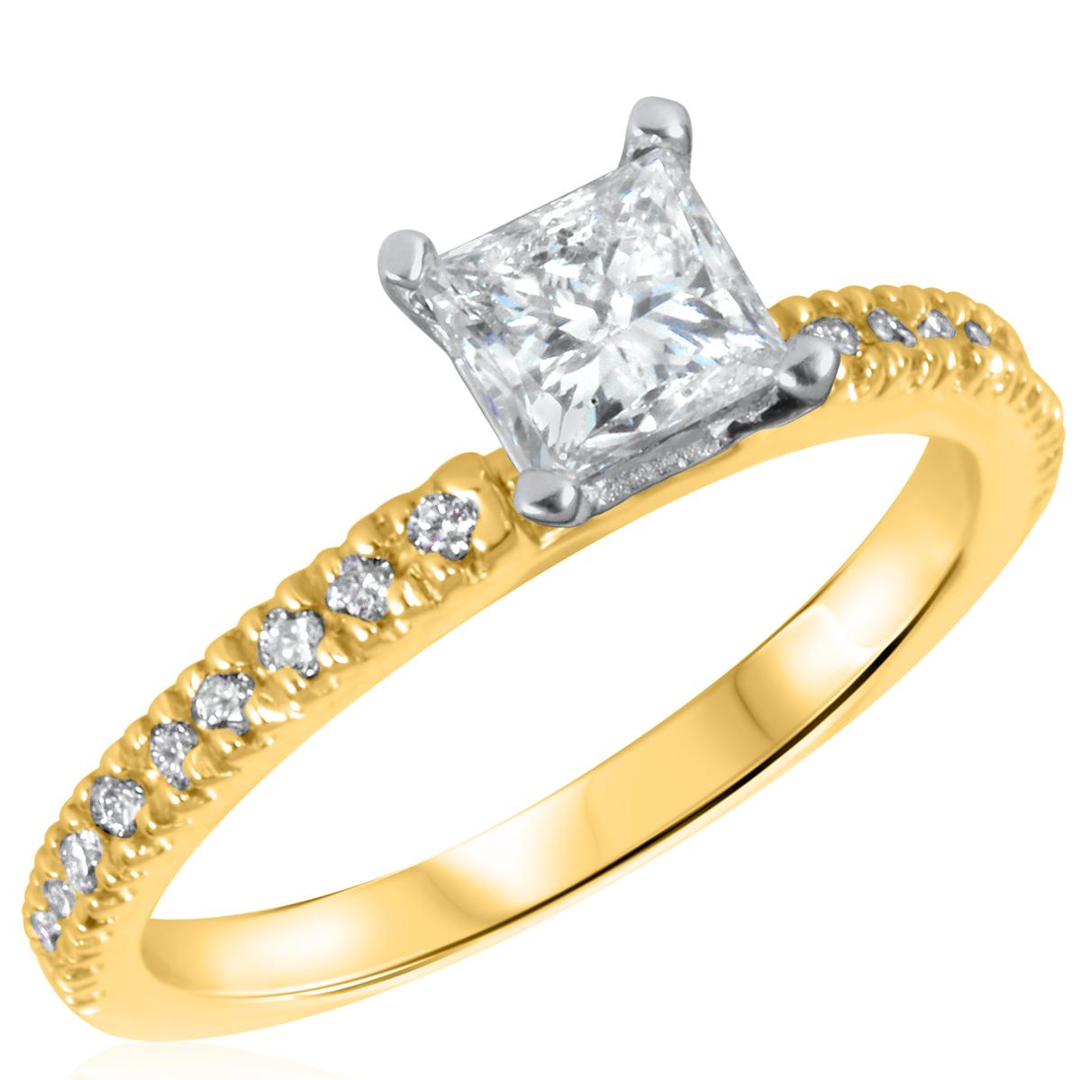 1 CT. T.W. Diamond Ladies Engagement Ring 10K Yellow Gold- Size 8