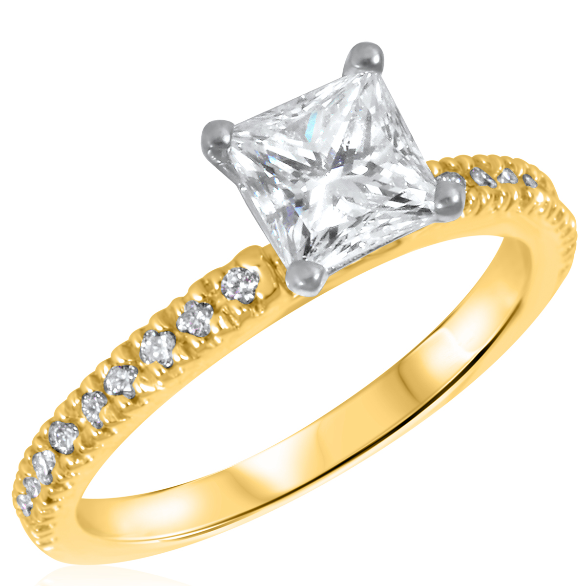 1 1/5 CT. T.W. Diamond Ladies Engagement Ring 14K Yellow Gold- Size 8