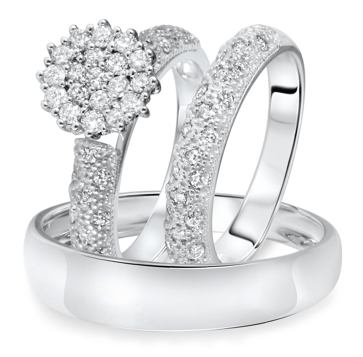 7/8 CT. T.W. Diamond Ladies Engagement Ring, Wedding Band, Men's Wedding Band