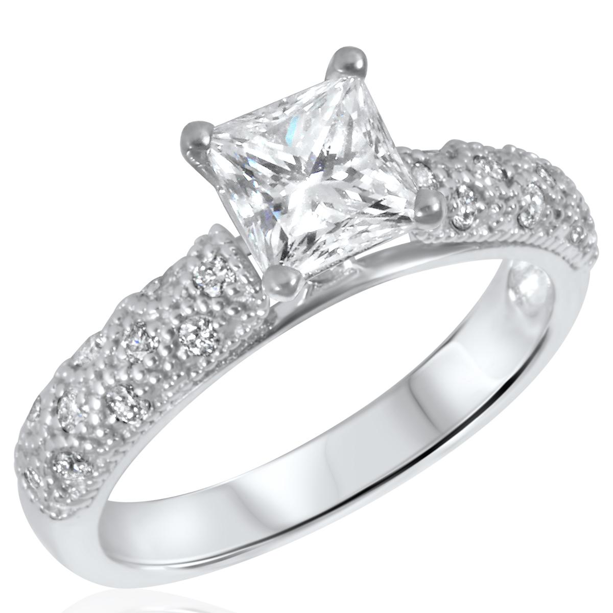 1 1/5 CT. T.W. Diamond Ladies Engagement Ring 14K White Gold- Size 8
