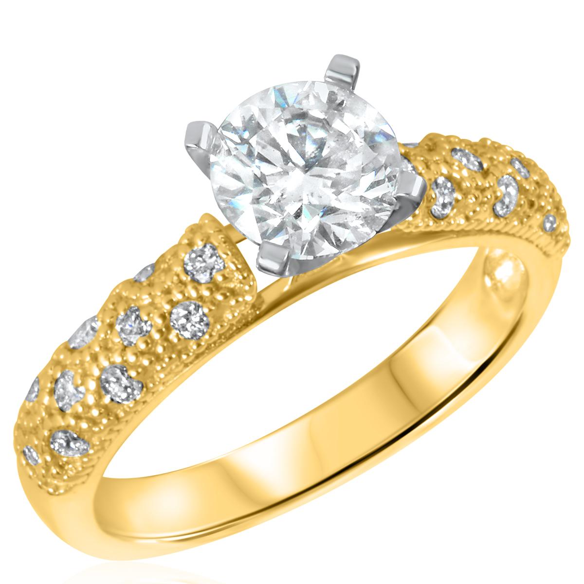 1 1/5 CT. T.W. Diamond Ladies Engagement Ring 10K Yellow Gold- Size 8