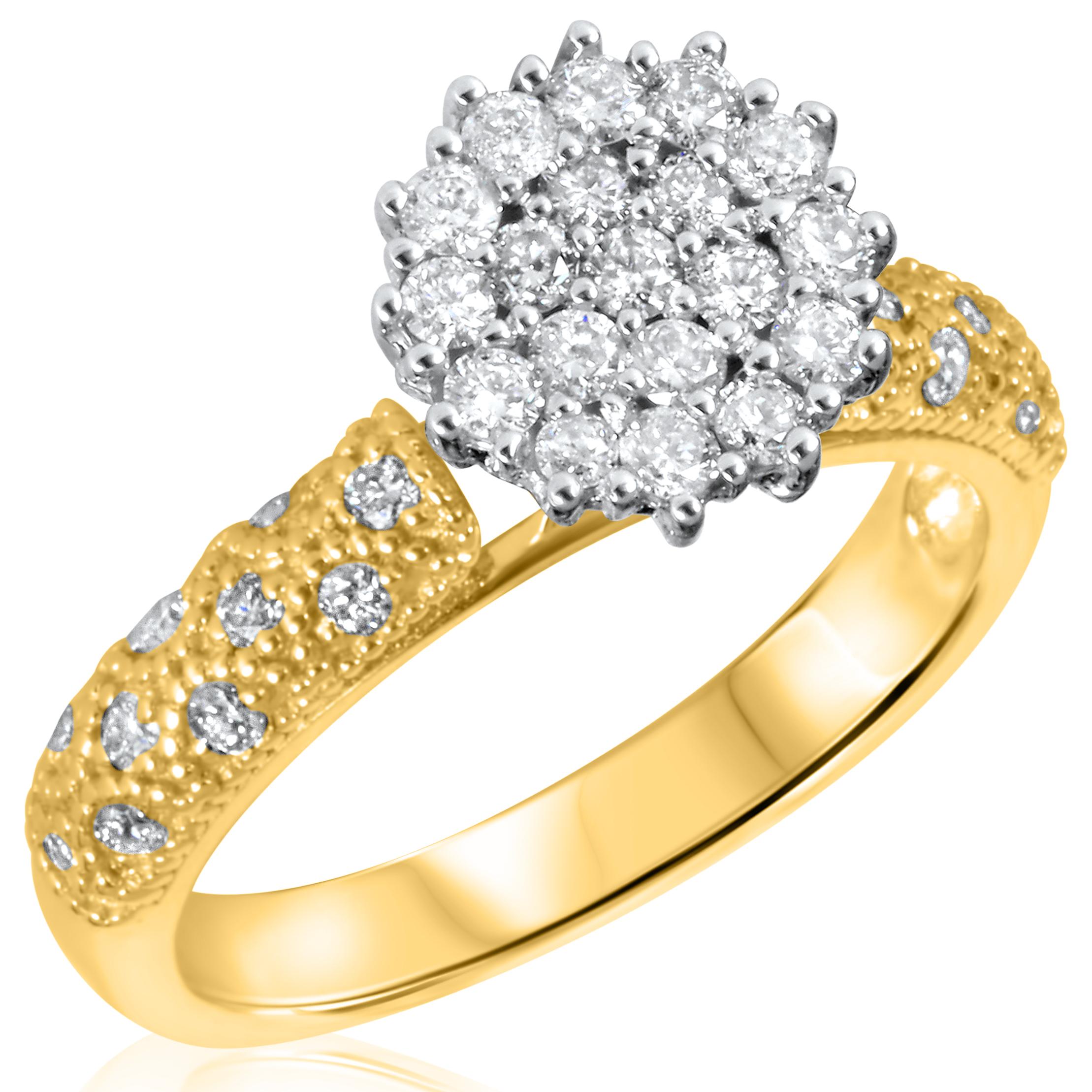 2/3 Carat T.W. Round Cut Diamond Ladies Engagement Ring 14K Yellow Gold- Size 8
