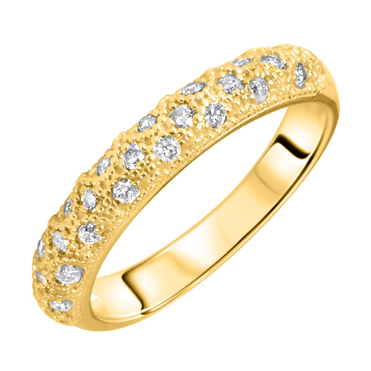 1/4 Carat T.W. Round Cut Diamond Ladies Wedding Band 14K Yellow Gold- Size 8
