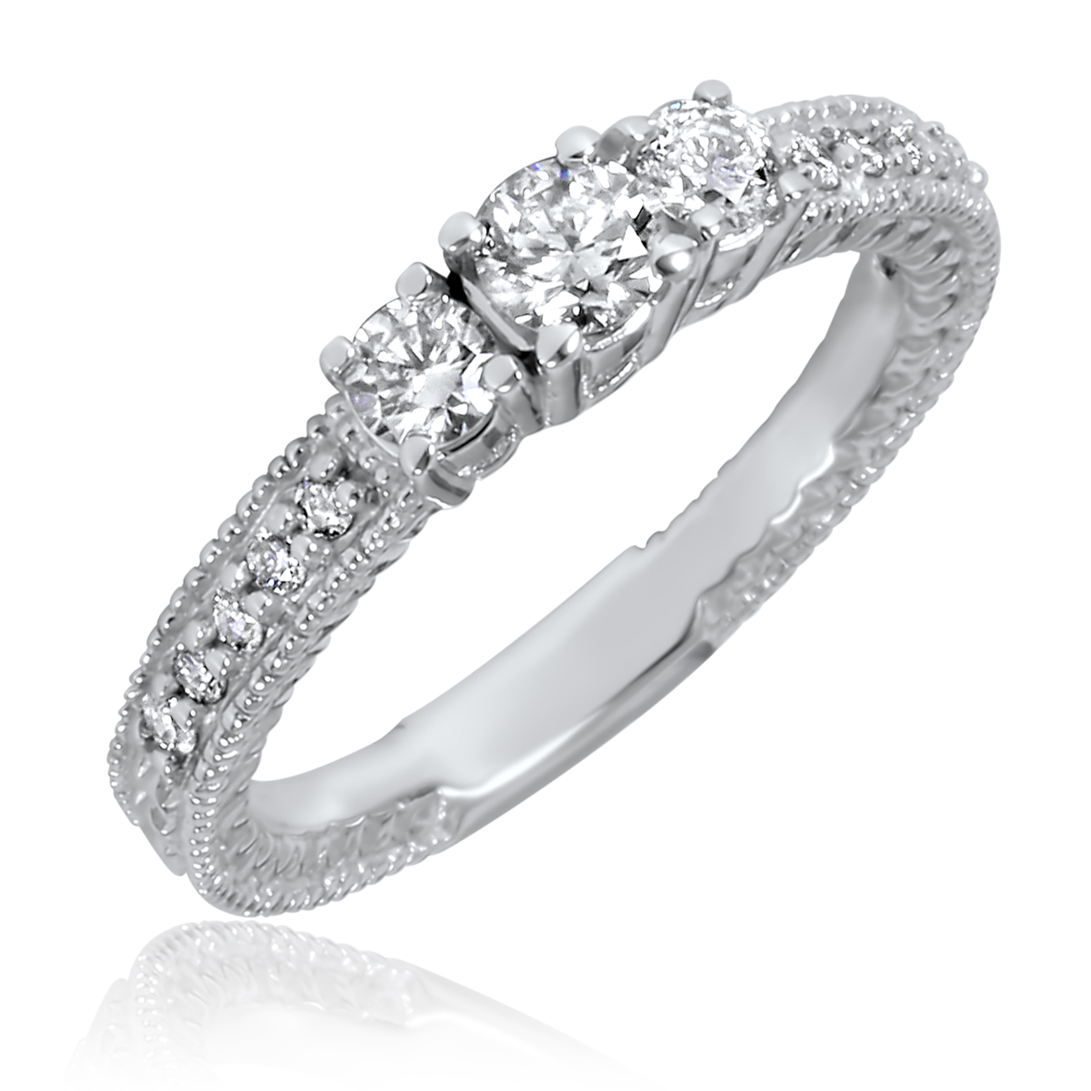 1/2 Carat T.W. Round Cut Diamond Ladies Engagement Ring 10K White Gold- Size 8