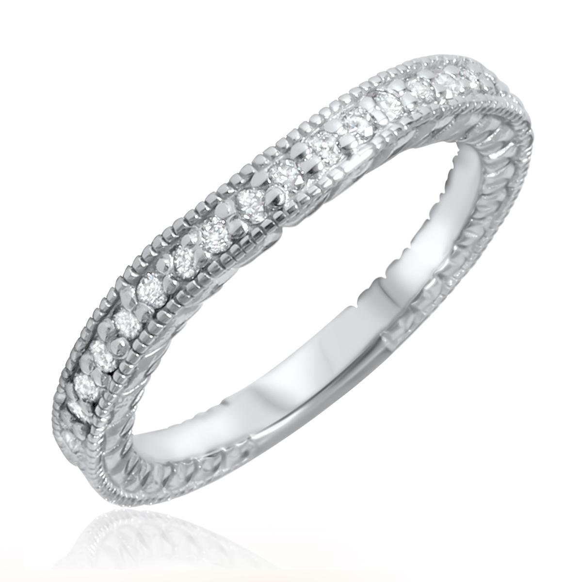 1/6 Carat T.W. Round Cut Diamond Ladies Wedding Band 14K White Gold- Size 8