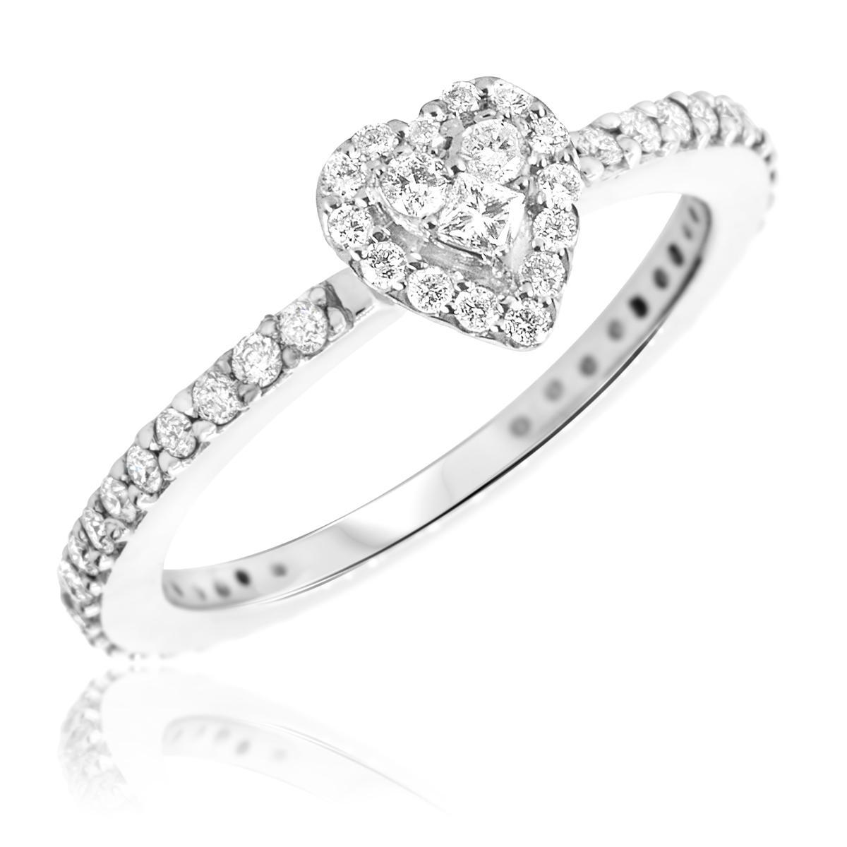 1/2 CT. T.W. Diamond Ladies Engagement Ring 14K White Gold- Size 8