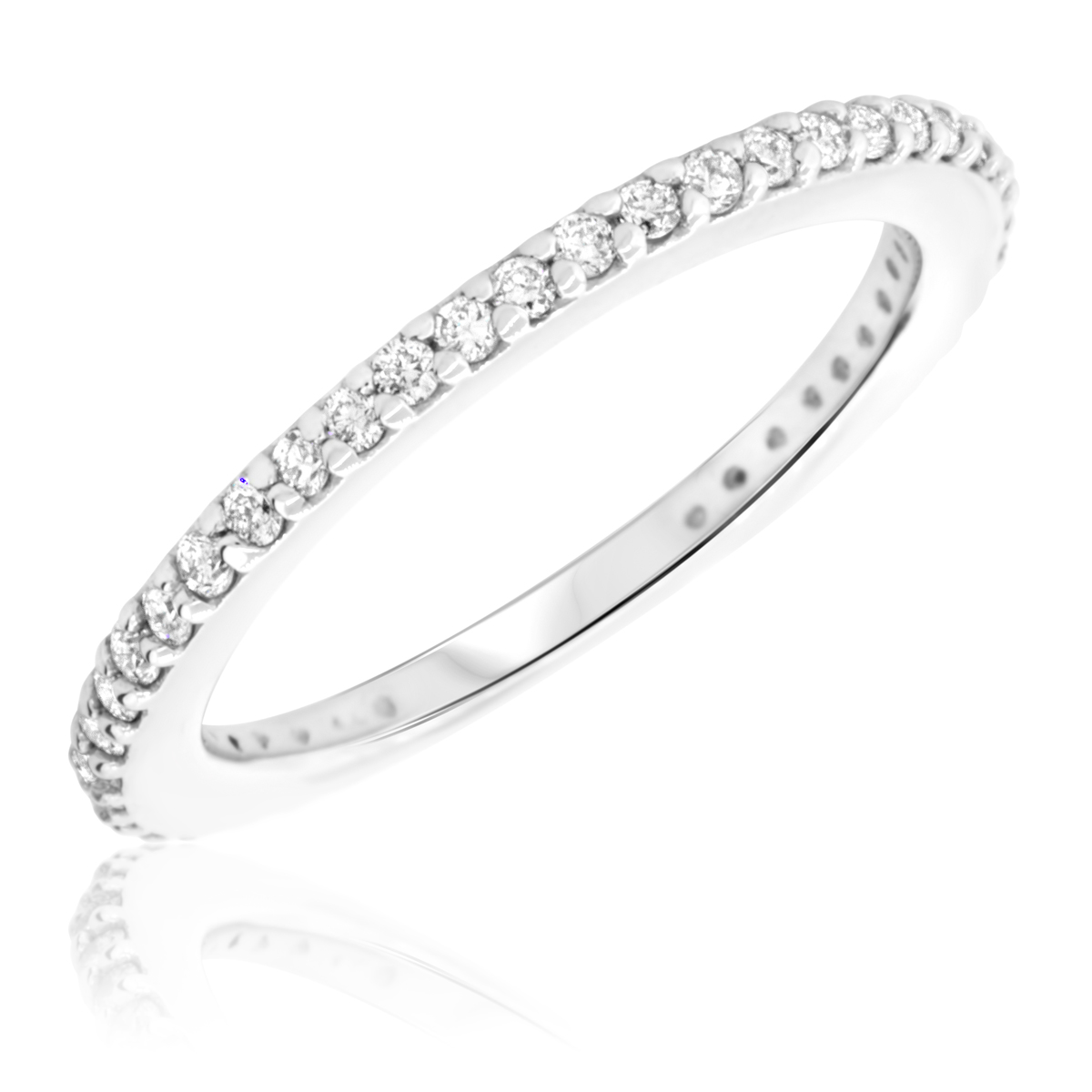 3/8 Carat T.W. Round Cut Diamond Ladies Wedding Band 10K White Gold- Size 8