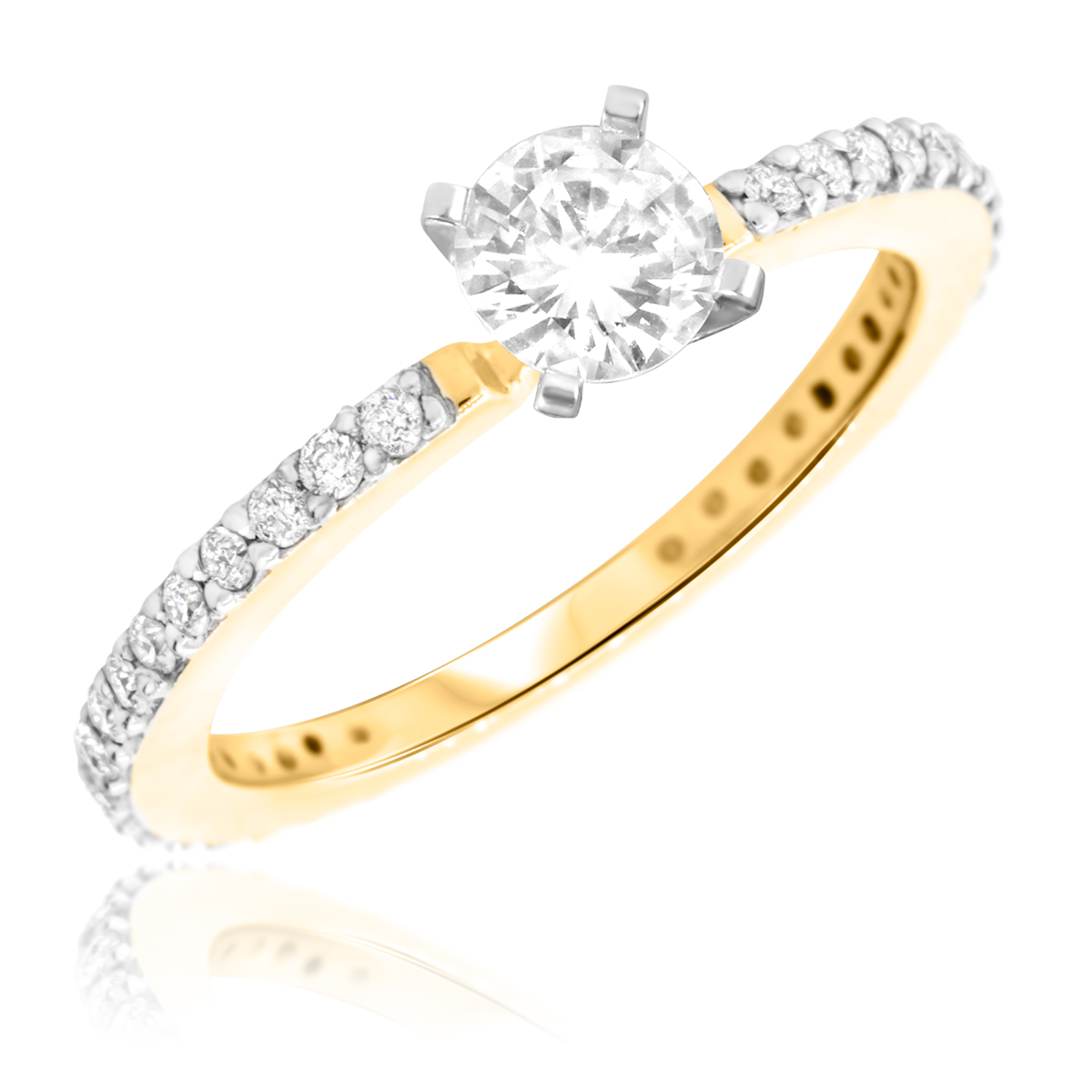 1 CT. T.W. Diamond Ladies Engagement Ring 10K Yellow Gold- Size 8