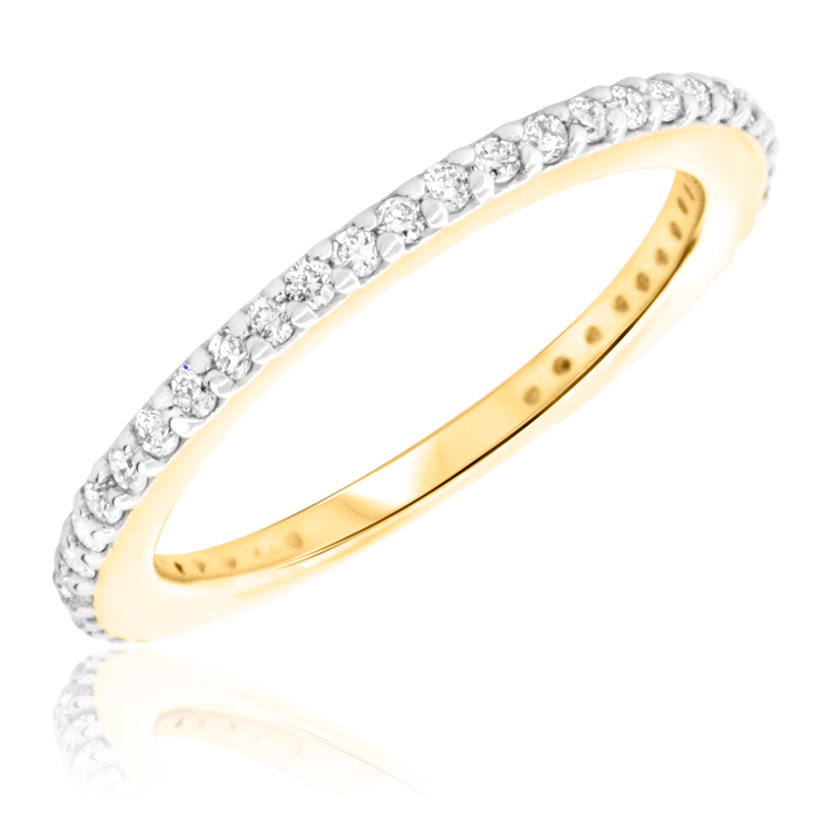 3/8 Carat T.W. Round Cut Diamond Ladies Wedding Band 10K Yellow Gold- Size 8