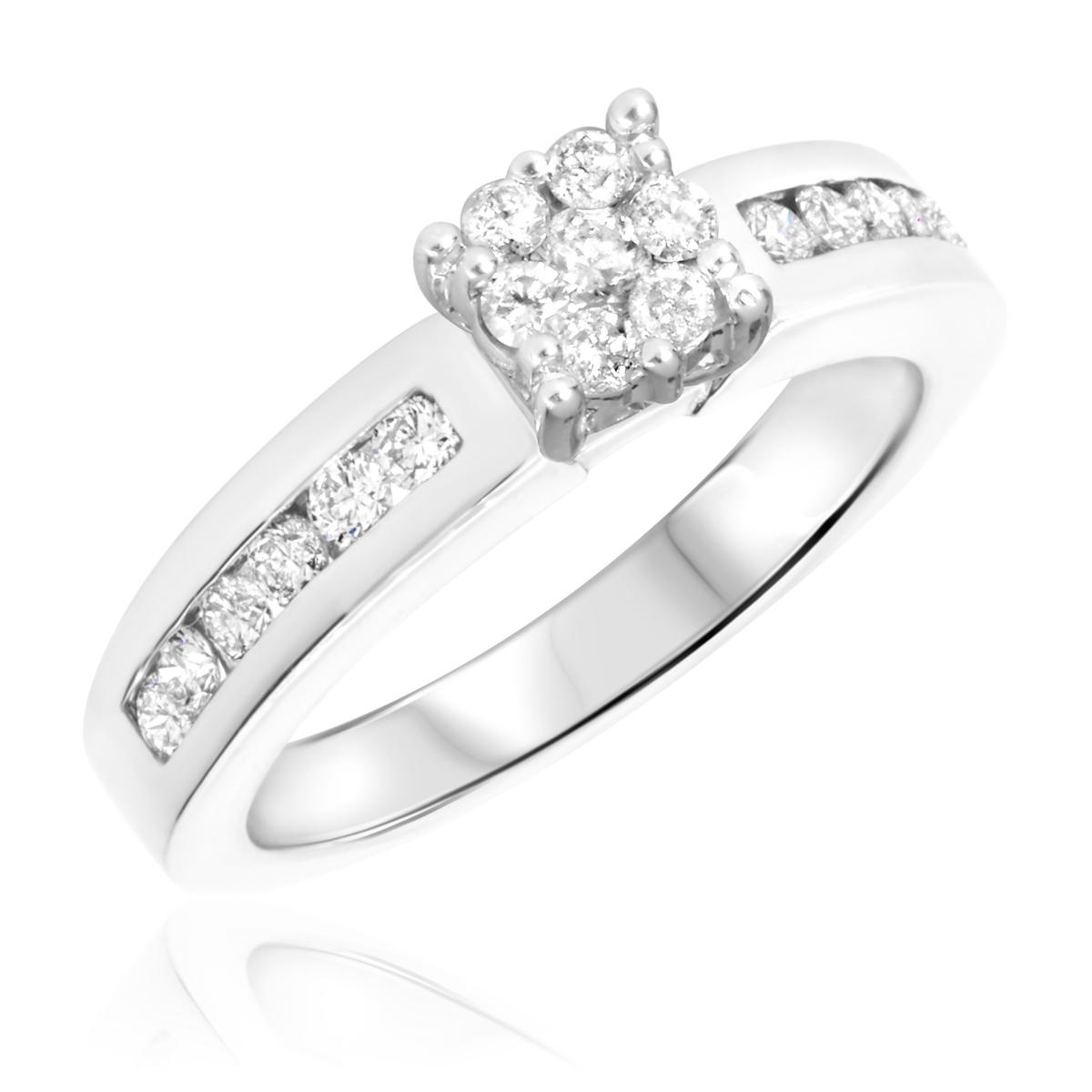 2/3 CT. T.W. Diamond Ladies Engagement Ring 14K White Gold- Size 8