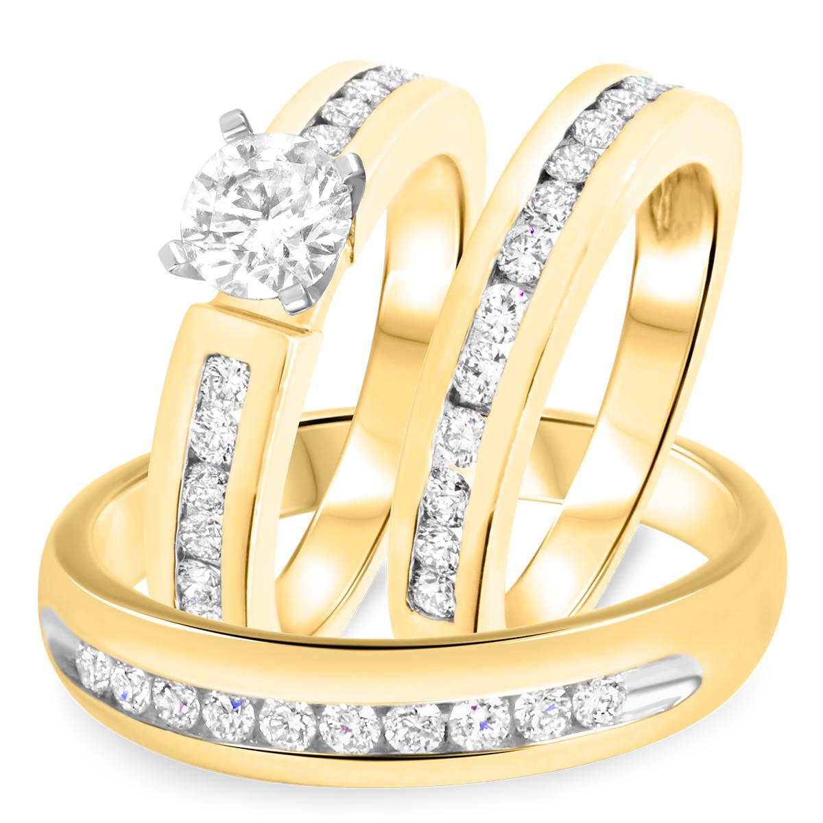 2 1/7 CT. T.W. Diamond Ladies Engagement Ring, Wedding Band, Men's Wedding Band