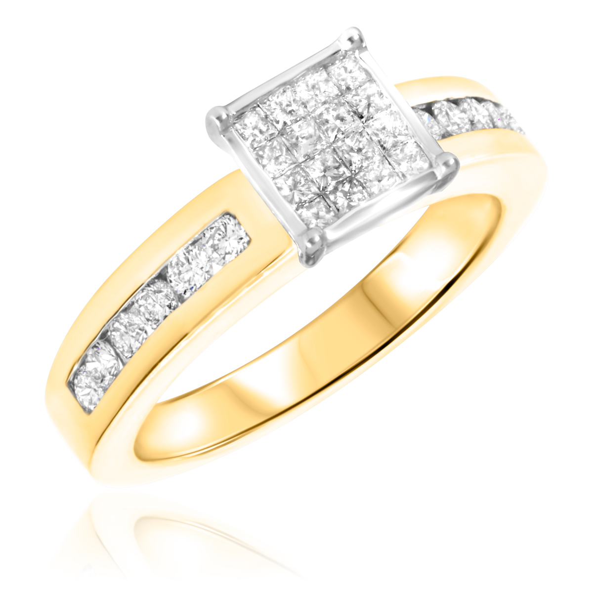 7/8 CT. T.W. Diamond Ladies Engagement Ring 10K Yellow Gold- Size 8